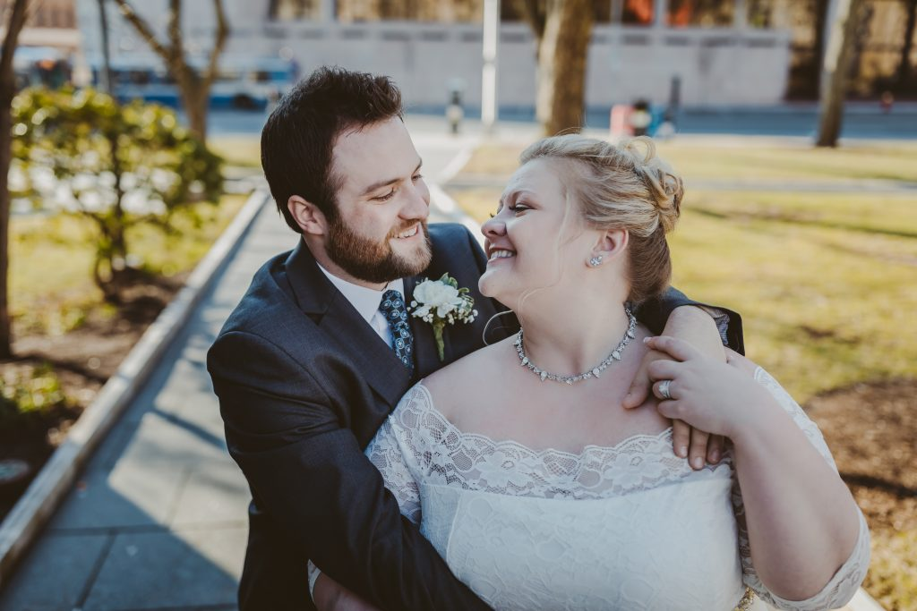 smiling bride, smiling groom