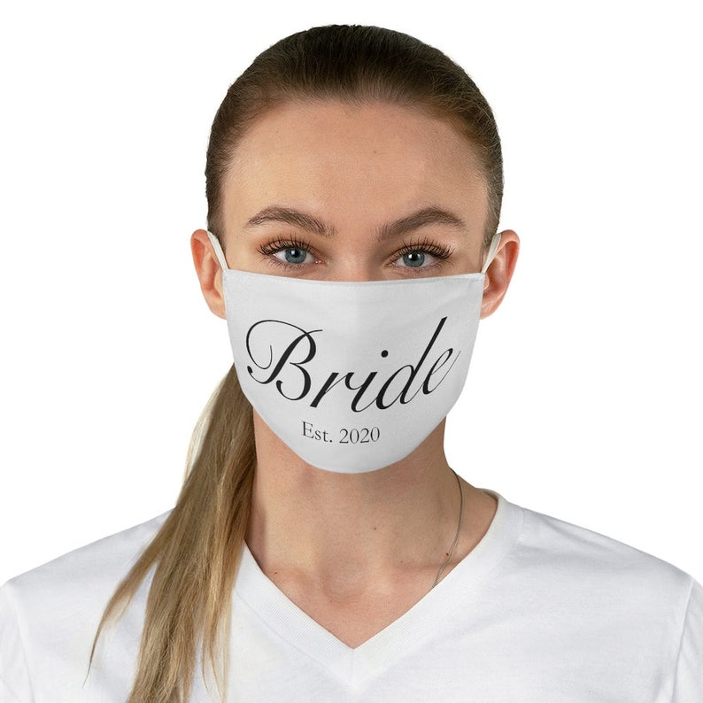 white face mask with text
