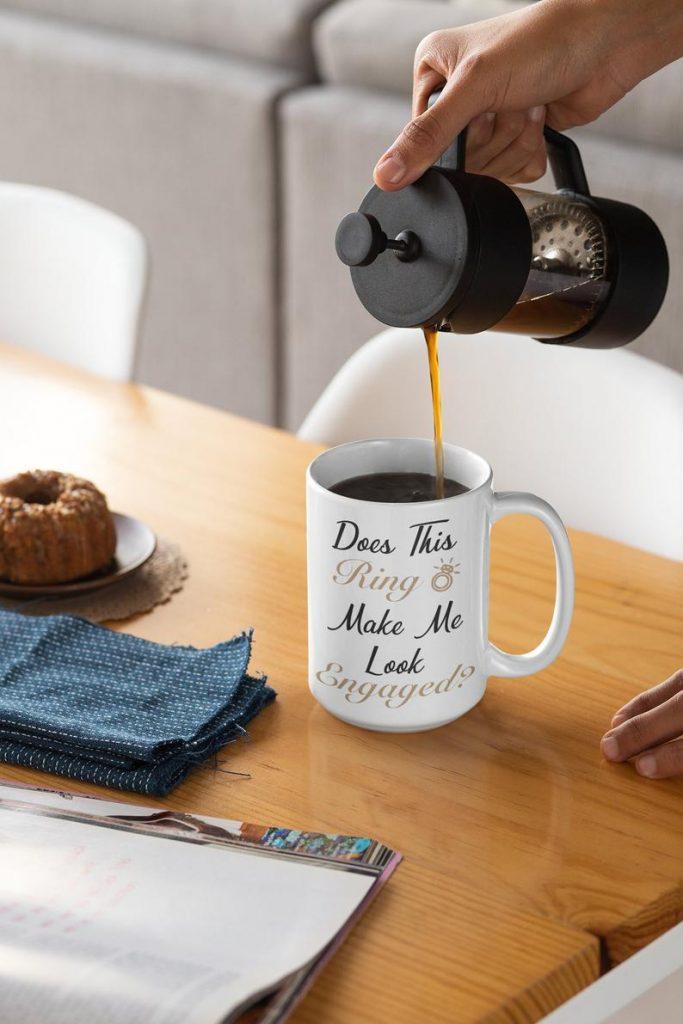 white coffee mug with text