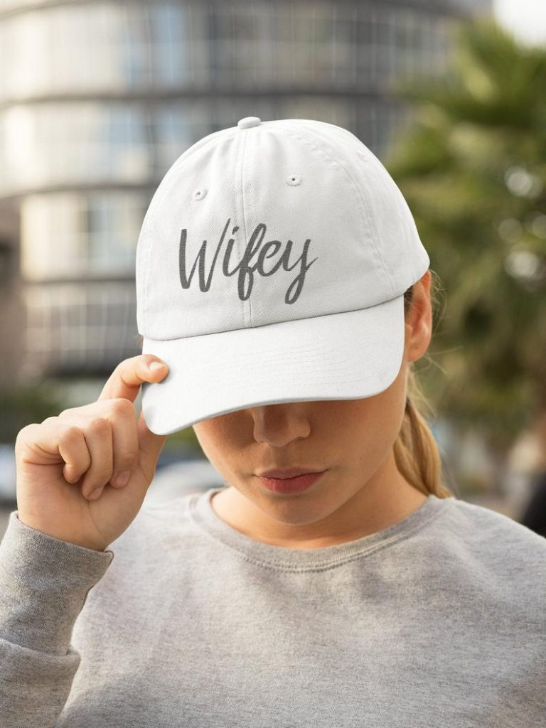 white hat with text